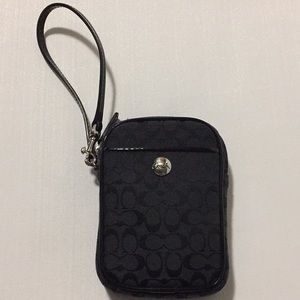 Black Canvas Mini Pouch ID Bag Wristlet